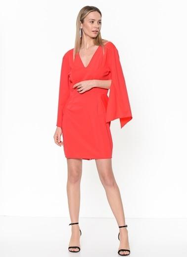 Tantrona V Yaka Kısa Elbise Kırmızı